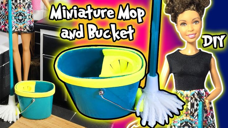 How to Make Barbie Doll Cleaning Mop and Bucket - DIY Easy Doll Crafts -...