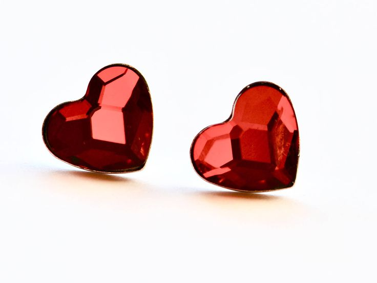 Red Heart stud, post screw back earrings, Swarowski crystal heart earrings, Valentines earrings, Sterling silver Earrings, Mother's Day gift by justynasshop on Etsy https://www.etsy.com/uk/listing/577822514/red-heart-stud-post-screw-back-earrings