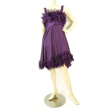 Elie Saab New Purple Silk Ruffled Knee Length Cocktail Evening dress sz 44