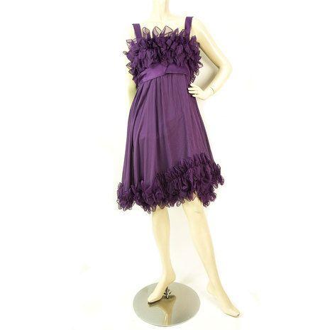 Elie Saab New Purple Silk Ruffled Knee Length Cocktail Evening dress sz 44
