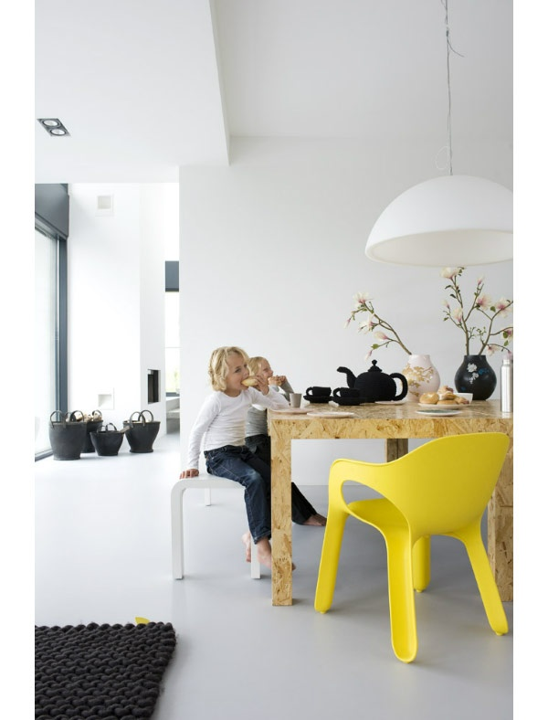 Chipboard Table. Someone knows where can i buy that yellow chair? it's perfect!!