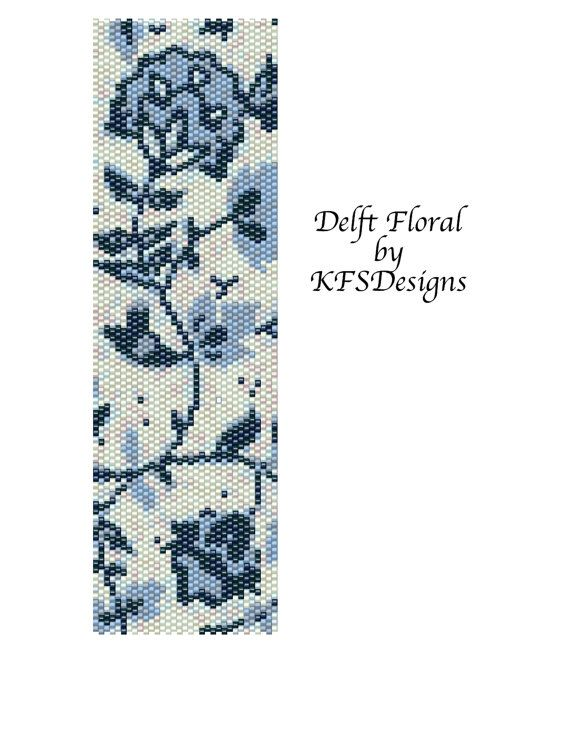 Peyote Stitch Cuff Bracelet Pattern - Delft Floral (Buy 2 Patterns - get 3rd. pattern FREE)
