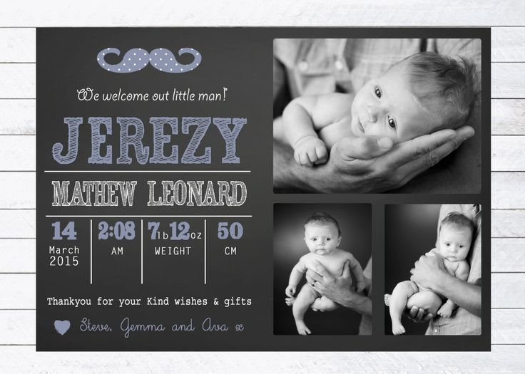 Baby Boy Birth Announcement Thankyou Card, Little Man Theme, Personalised Digital Print, Print Yourself by LittleFeetInvites on Etsy