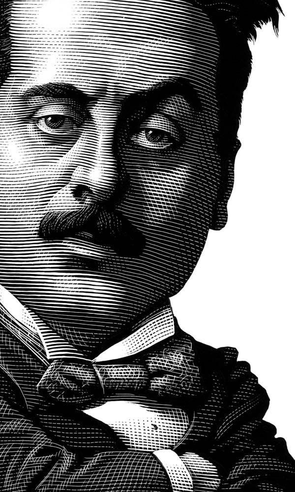 Puccini Engraving Illustration by Mark Summers