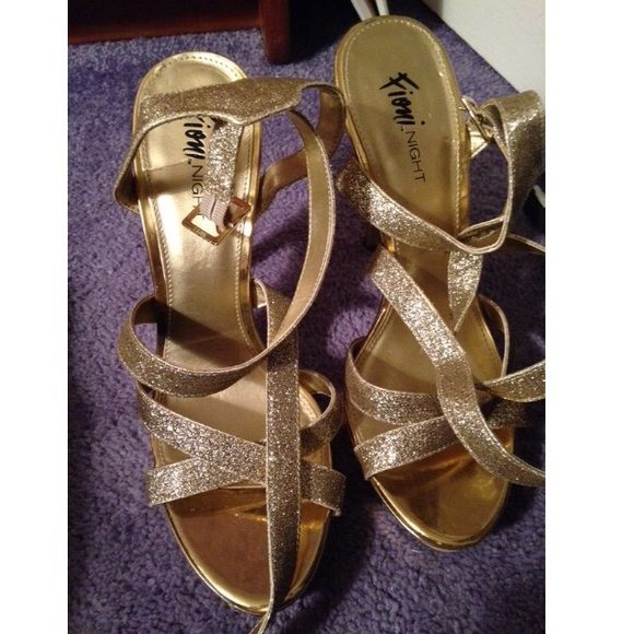 Gold Sandal Heels Gold strapped sandal heels. Worn once to a wedding in perfect condition. Shoes Heels