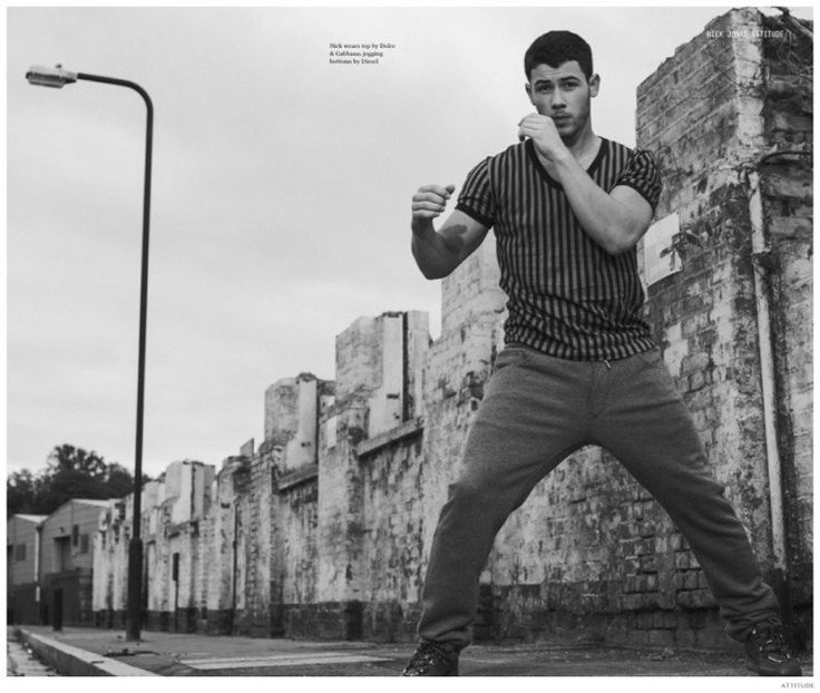 Nick Jonas Sports Active Styles for Attitude Cover Photo Shoot