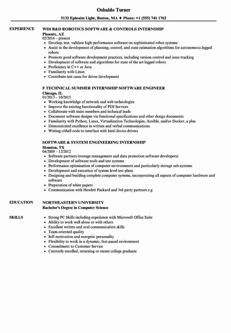 Computer science resume internship elegant software