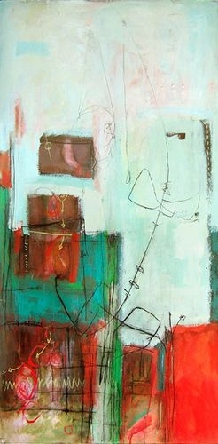 """digging up by Anne-Laure Djaballah 48""""x24"""", acrylic on panel, 2007."""