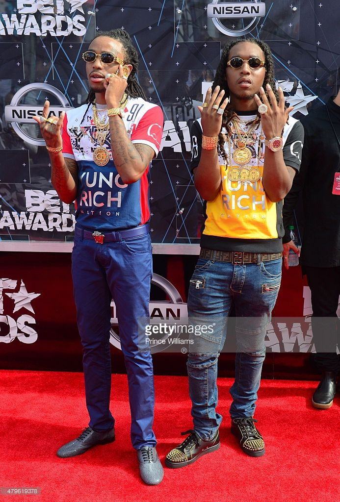 Takeoff and Quavo of the group Migos attend the 2015 BET Awards on June 28, 2015 in Los Angeles, California.