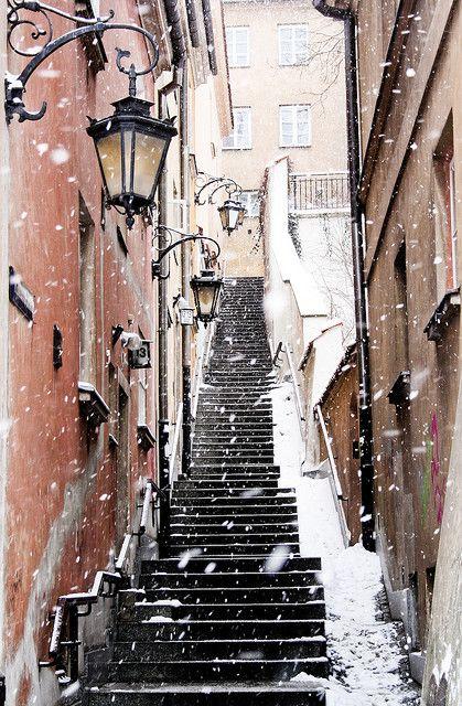 Warsaw, PolandStairs, Snow, Beautiful, Winter Wonderland, Old Town, Travel, Places, Warsaw Poland