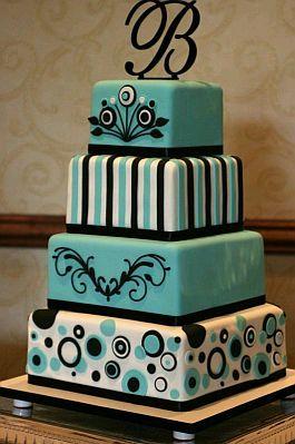 Torta de Boda en Color Azul Aguamarina