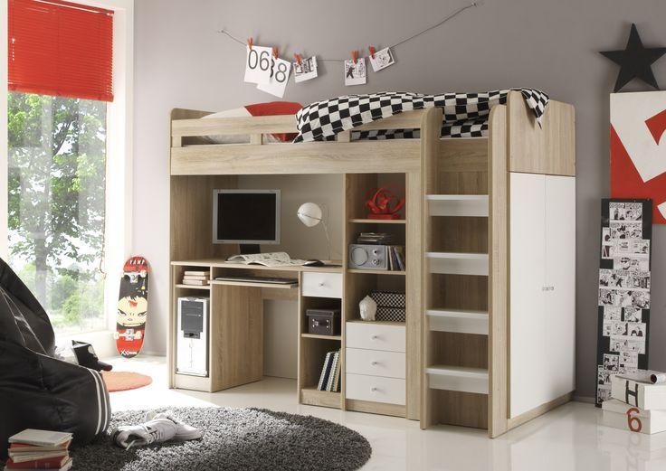 Poschodová posteľ so skriňou UNIT - SCONTO NÁBYTOK - kompletným riešením spania a pracovne