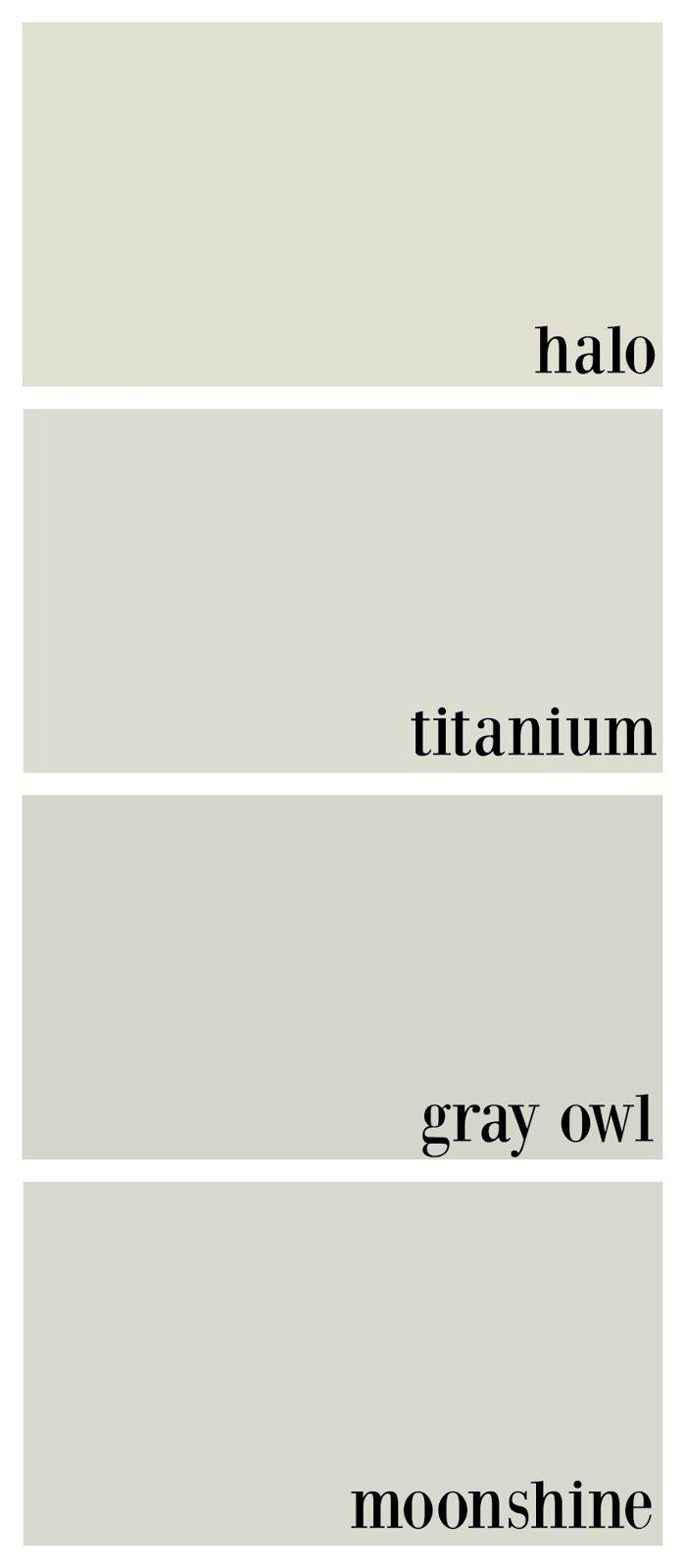 benjamin moore gray owl, benjamin moore titanium, benjamin moore halo, benjamin moore moonshine comparison