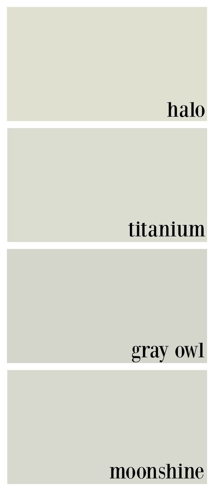 This may be the  perfect shades for the rest of the house! benjamin moore gray owl, benjamin moore titanium, benjamin moore halo, benjamin moore moonshine comparison