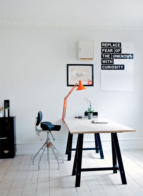 Black and White Study Area | White and Black Office | Orange Anglepoise Lamp | White Painted Floorboards | Trestle Table Desk