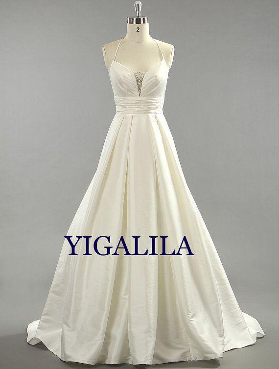 Lady dress/bridesmaid dress/wedding dress/beading/taffeta/A-line/prom dress/halter-neck on Etsy, $139.00