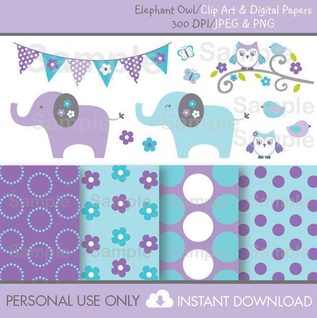Elephant Owl Clipart / Digital Paper por LittlePrintsParties