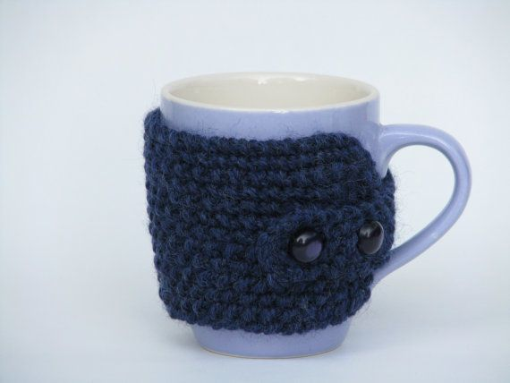 Cup Cozy Hand Knitted Blue Vintage Buttons by AGirlNamedMariaDK on Etsy #cup #cups #mug #mugs #warmer #warmers #cozy #cozies #coffee #tea #cocoa #hot #drink #drinks #etsy #agirlnamedmariadk #tableware #danish #denmark #design #scandinavia #scandinavian #knitted #knit #knitting #blue #purple #lavender #purple #wool #buttons #button #plastic