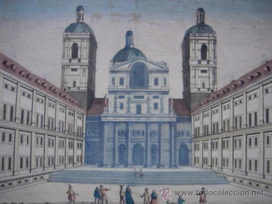GRABADO DEL ATRIO DE LA IGLESIA DEL ESCORIAL, ORIGINAL, PARÍS, 1750, VISTA ÓPTICA COLOREADA - Foto 1