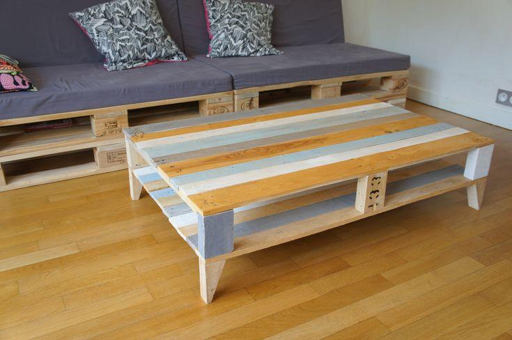 Grande table basse vintage en bois de palettes recycl es vintage and tables - Grande table basse en bois ...