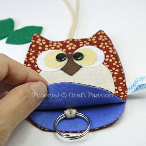 Sewing: Owl Key Chain Holder With Pattern & Tutorial | Free Pattern & Tutorial at CraftPassion.com