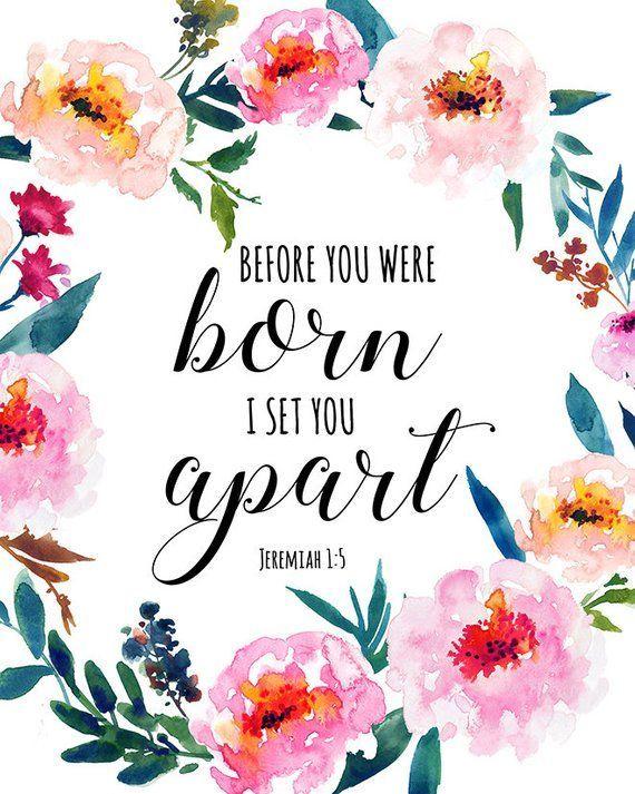 Bible Verse Print Digital Download Jeremiah 1:5 Printable Girly Floral Wreath Ba…
