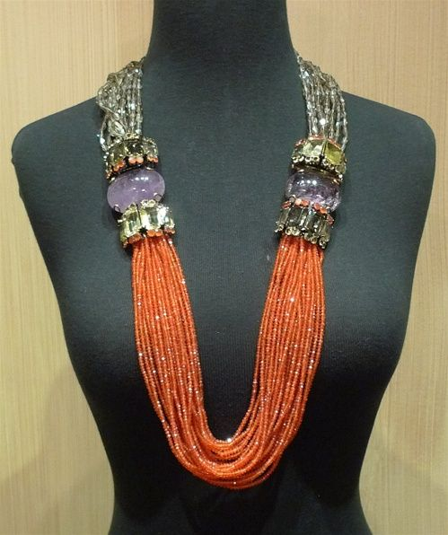 Iradj Moini Carnelian Sautoir Necklace with Amethyst & Quartz ~ Stunning!