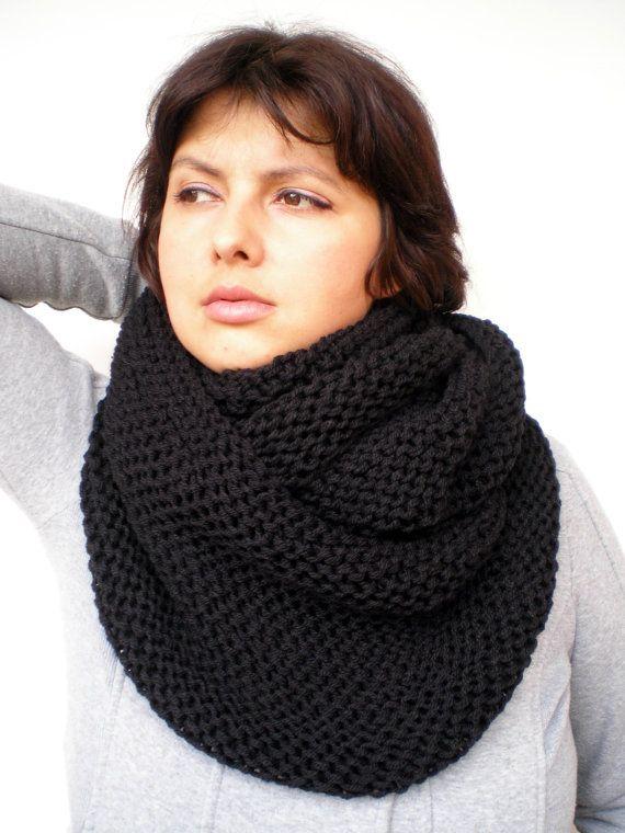 Black Chunky Circle Scarf Hand Knit Circle Scarf Soft by NonnaLia, $69.00