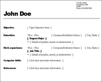 example of simple resume format