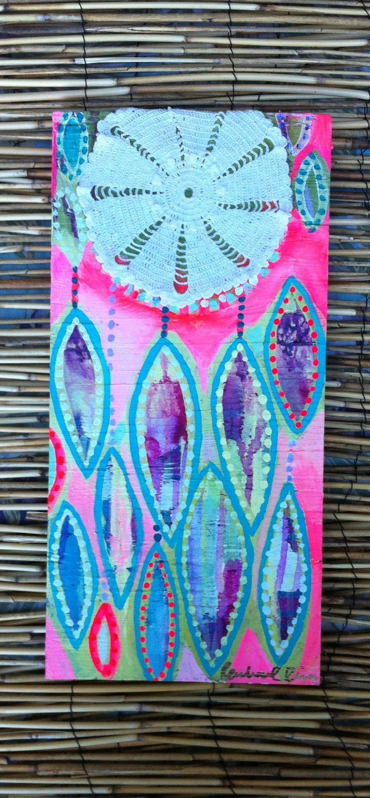 Dreamcatcher Painting With Lace Neon Pink Painted