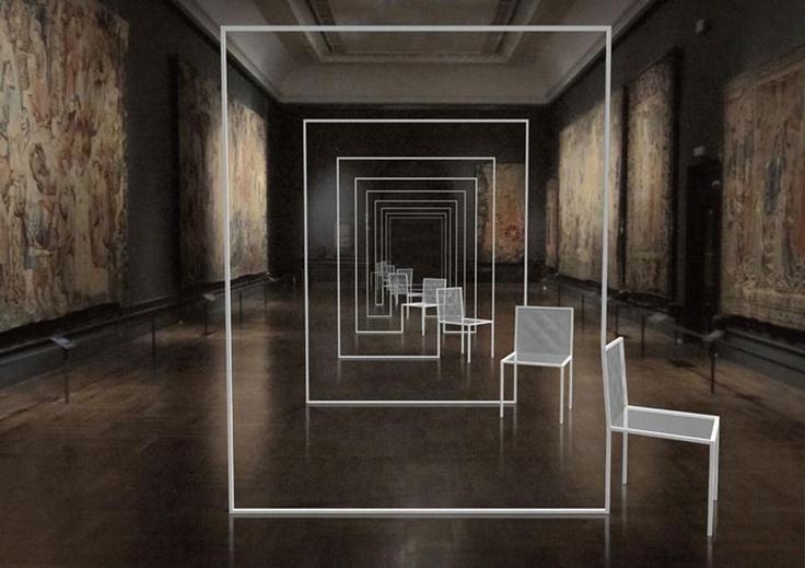 Nendo, Mimicry Chairs installazione al Victoria & Albert Museum, rendering