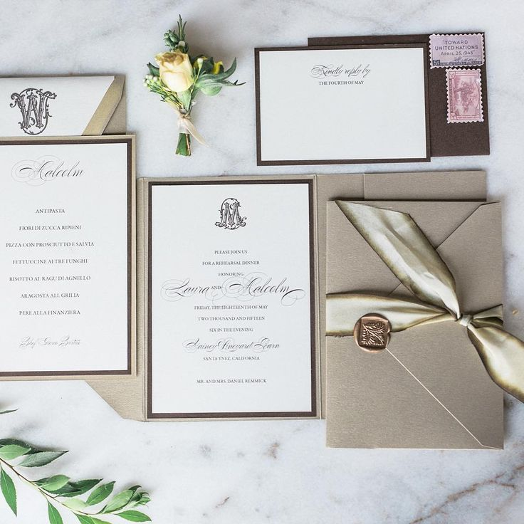Elegant Neutral Wedding Invitation Suite With Custom Monogram Pocket Fold Gold Wax Seal