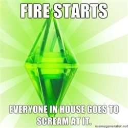 """Fire starts, everyone in house goes to scream at it."" That's The Sims for ya. Screaming and pointing, never putting it out."