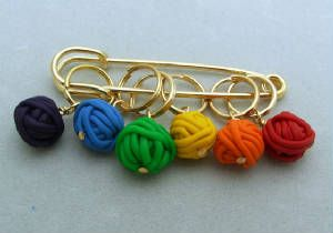 Clay yarn balls stitch markers