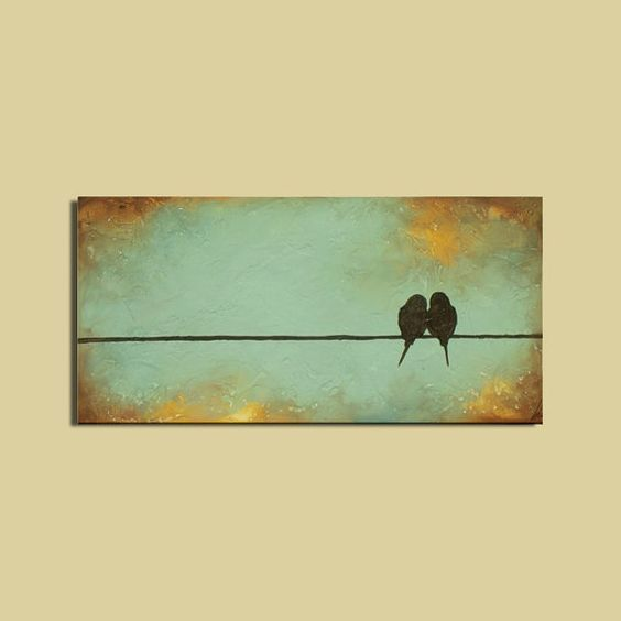 Signature Birds on a Wire Painting Wedding Couple Anniversary Wall Decor