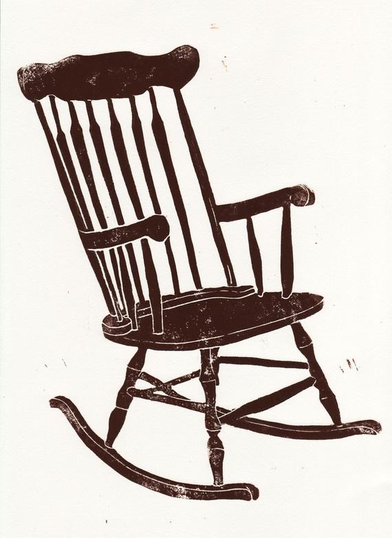 rocking chair linocut | jessica maloan | pinestreetmakery
