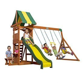 The Weston all cedar swing set is a great set with plenty of value for smaller budgets and yards. It starts with a sturdy fort that has a colorful canopy overhead, a rock wall ladder up one side and a fun 8′ speedy slide down the other. Underneath the fort is the sand box area […]