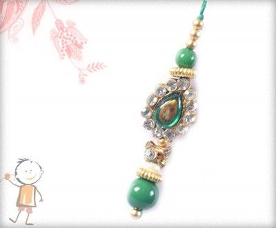 Lumba Rakhi - Send Online#Lumba #Rakhi – online rakhi. ANTIQUE DIAMOND LUMBA WITH GREEN BEADS, surprise your loved ones with roli chawal, chocolates and a greeting card as it is also a part of our package and that too without any extra charges. http://www.bablarakhi.com/