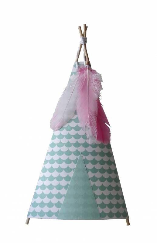 Tipi lamp golf mint met roze veer