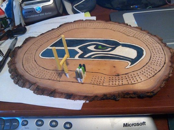 Seahawk Cribbage Board Game By Kayscreations67 On Etsy