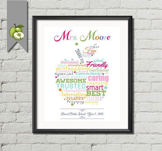 Teacher Appreciation gift apple Personalised colourful Apple word art cloud rainbow colours custom printable retirement present long service