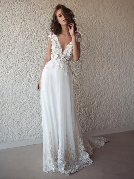 A-line V-neck Cap Sleeves Appliques Wedding Dresses With Train, WD0442
