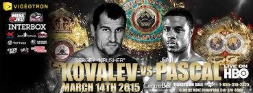 "Here are the weigh-in results for the upcoming WBA (Super), WBO, and IBF light heavyweight title fight between Sergey Kovalev and Jean Pascal:  Champion: Sergey ""The Krusher"" Kovalev - 174 lbs.   Challenger: Jean Pascal - 175 lbs."