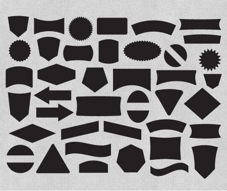 Free Label And Badge Vector Shapes - The Download includes 40 label shapes in AI, EPS, & PSD Formats. Illustrator symbols and Photoshop custom shapes are also included.