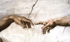 (Buonarroti) Michelangelo - Uitsnede uit De schepping van Adam Michelangelo (Buonarroti)