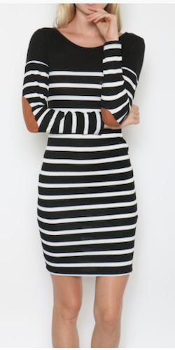Striped Elbow Patch Dress - Navy