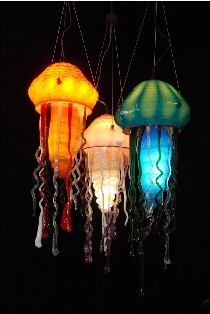 blown glass | Suspension Lamp Hand Blown Glass Jelly Fish Group by artist Rick ...