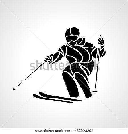 Ski downhill. Creative silhouette of the skier. Giant Slalom Ski Racer. Vector…