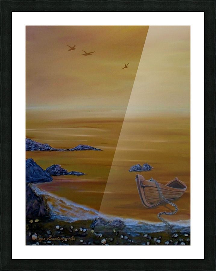 Framed Art Print, seascape,painting,wall,art,coastal,scene,boat,sea,orange,sunset,sunrise,gold,golden,nautical,marine,island,water,wooden,beautiful,images,home,office,decor,artwork,for,sale,contemporary,modern,cool,awesome,fine,oil,items,ideas, pictorem