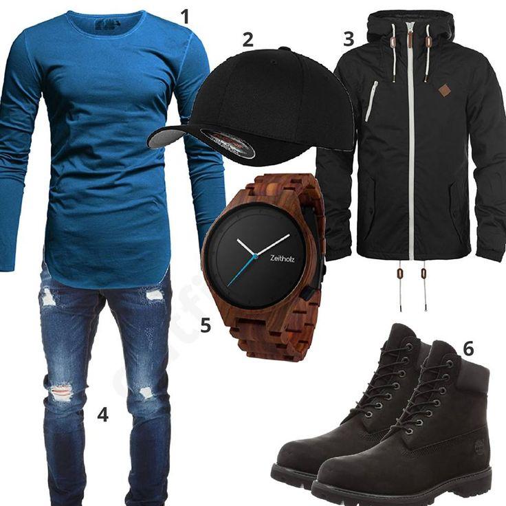 Schwarz-Blaues Herrenoutfit mit Boots und Holzuhr – Dewayne Perkins